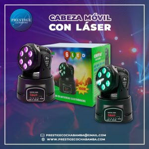CABEZA MOVIL LOCA 7 LED CON LASER BI-COLOR